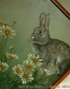"39. Cottontail w/ Daisies, 8"" x 10"" panel - $155.00"