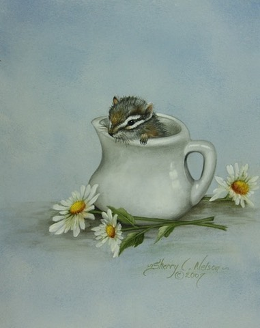 "Chipmunk in a Creamer                8""x10"" $7.00"